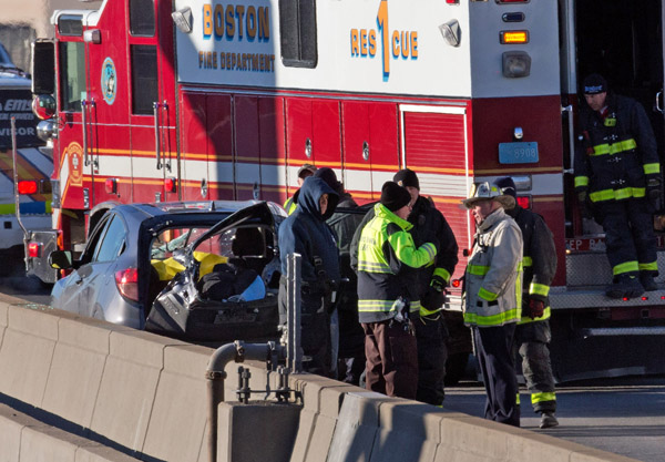 02/12/2016-Boston,MA. First responders at the scene.