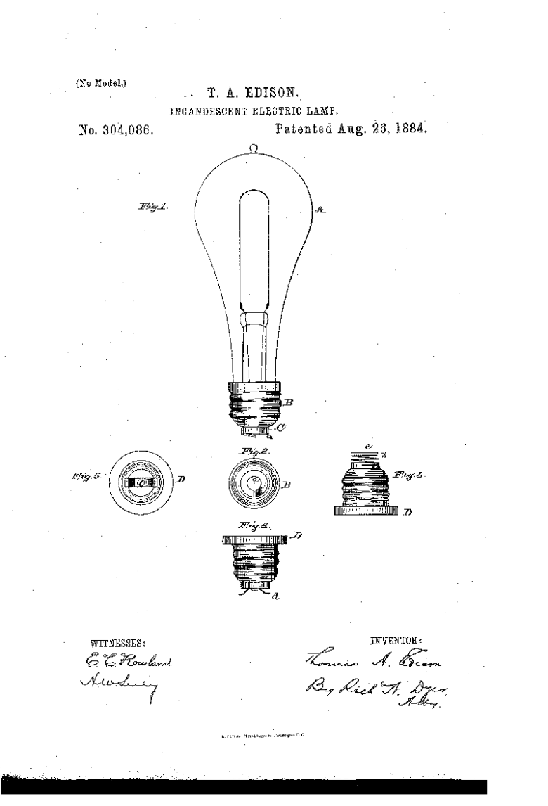 Edison electric light bulb patent