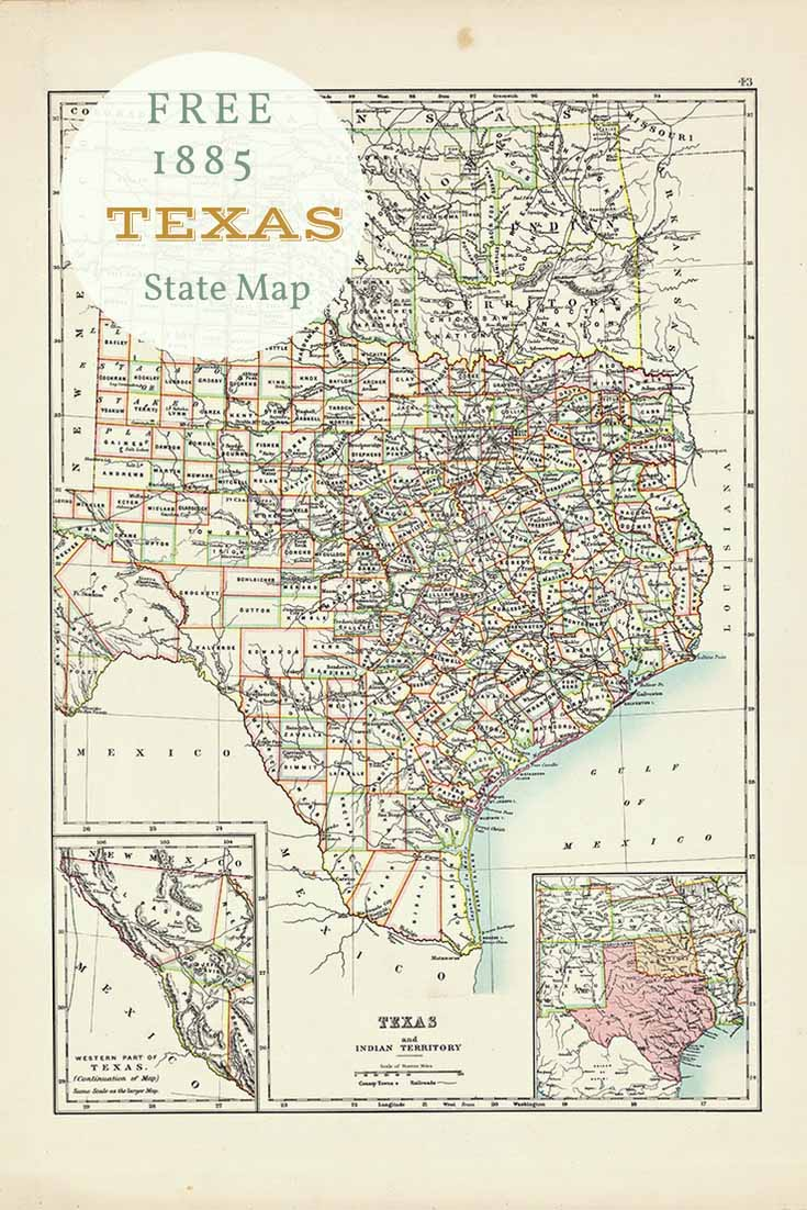 Free old map of Texas and 9 other Southern States - Picture ...