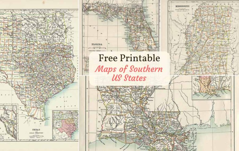 Free printable maps of US southern states