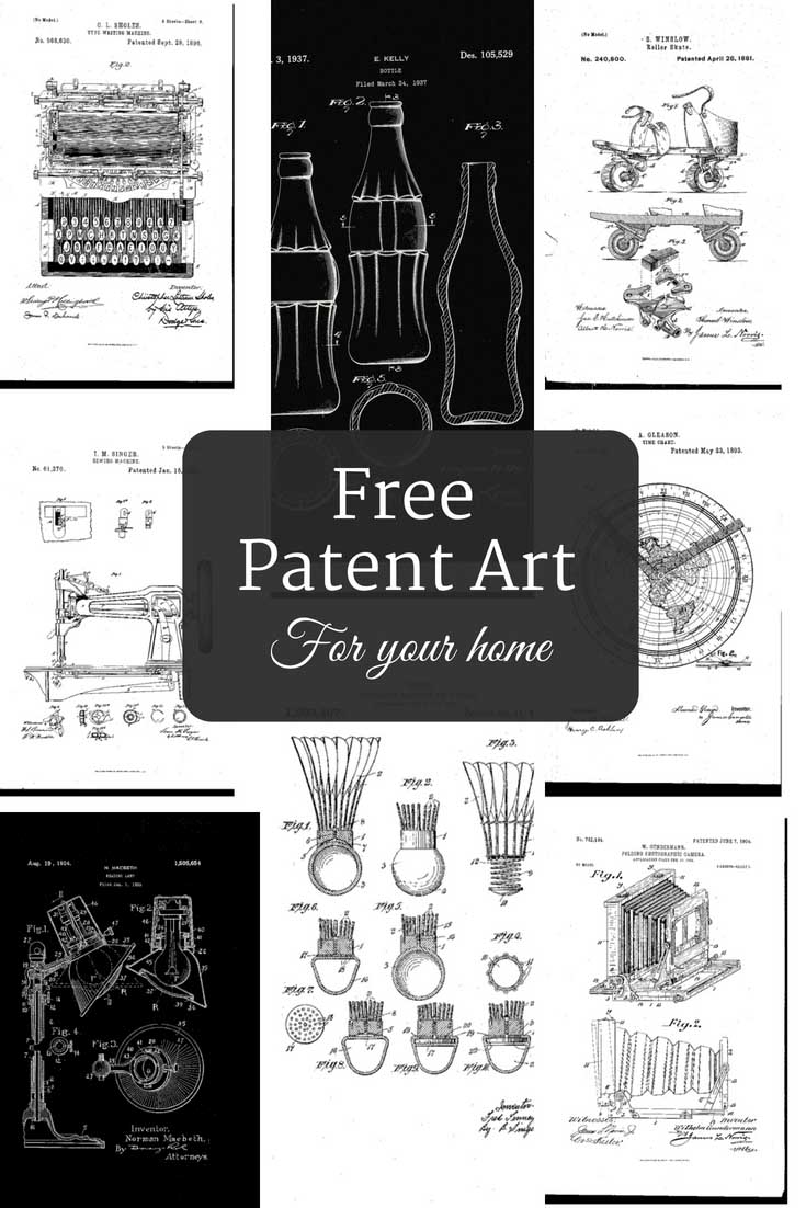 Printable free patent art for your home