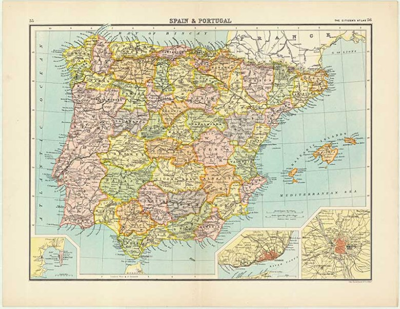 Vintage Spain and Portugal Citizen Atlas