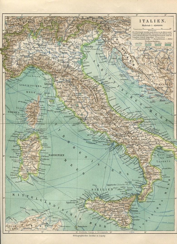 Vintage Map of Italy (German Atlas)