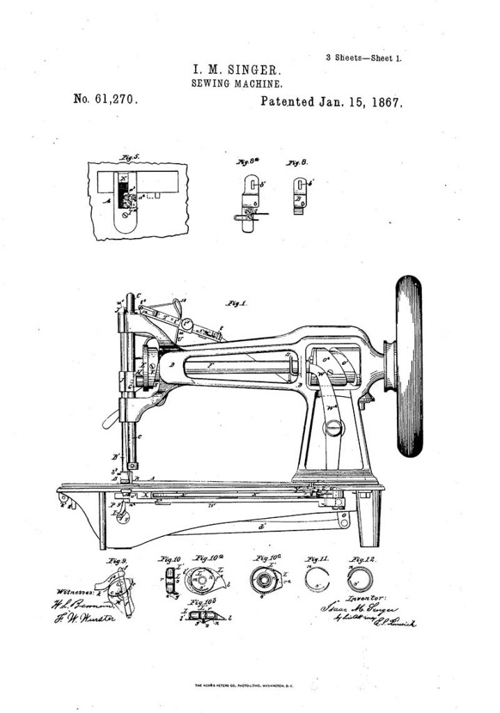 Free patent art singer sewing machine