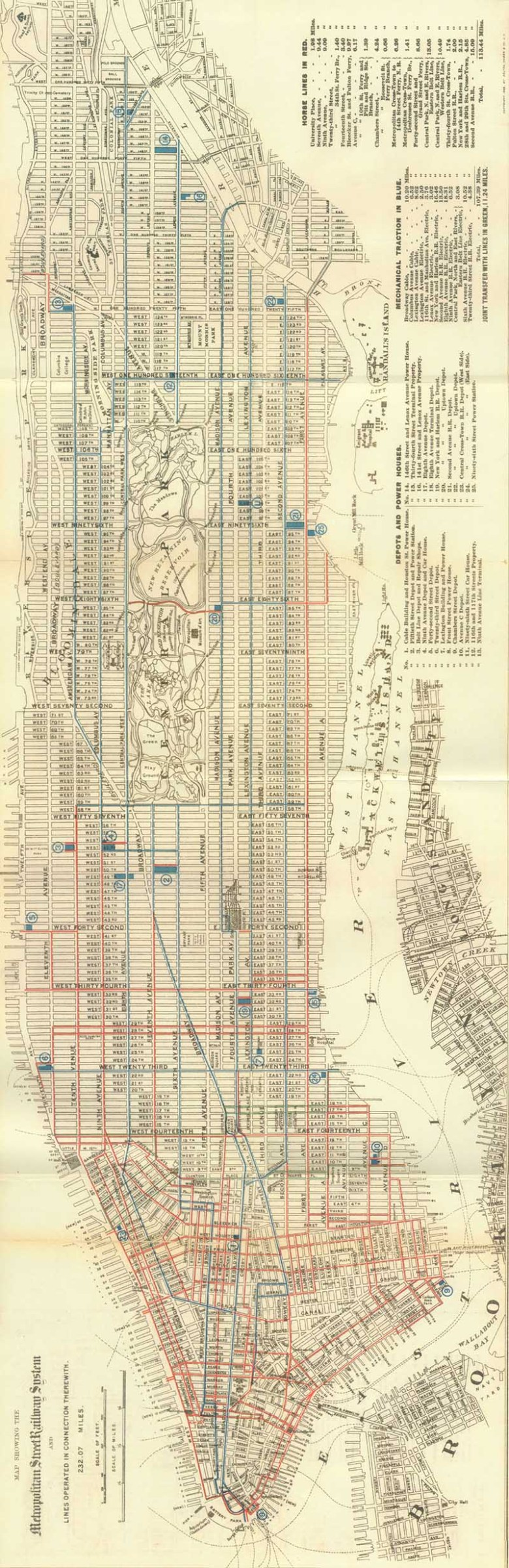 Free 1899 Manhattan Street Car Map