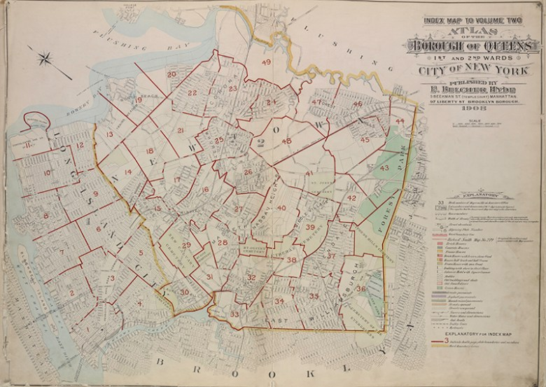 vintage map New york Queens borough