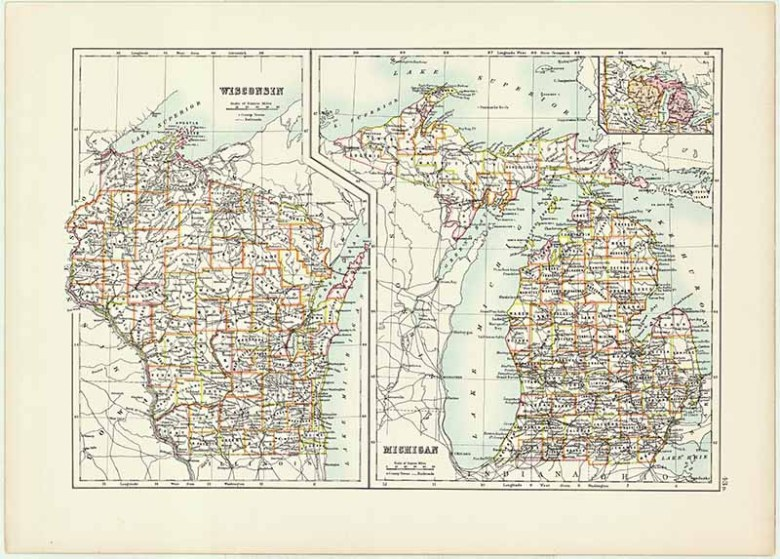 Wisconsin and Michigan State Map Free download