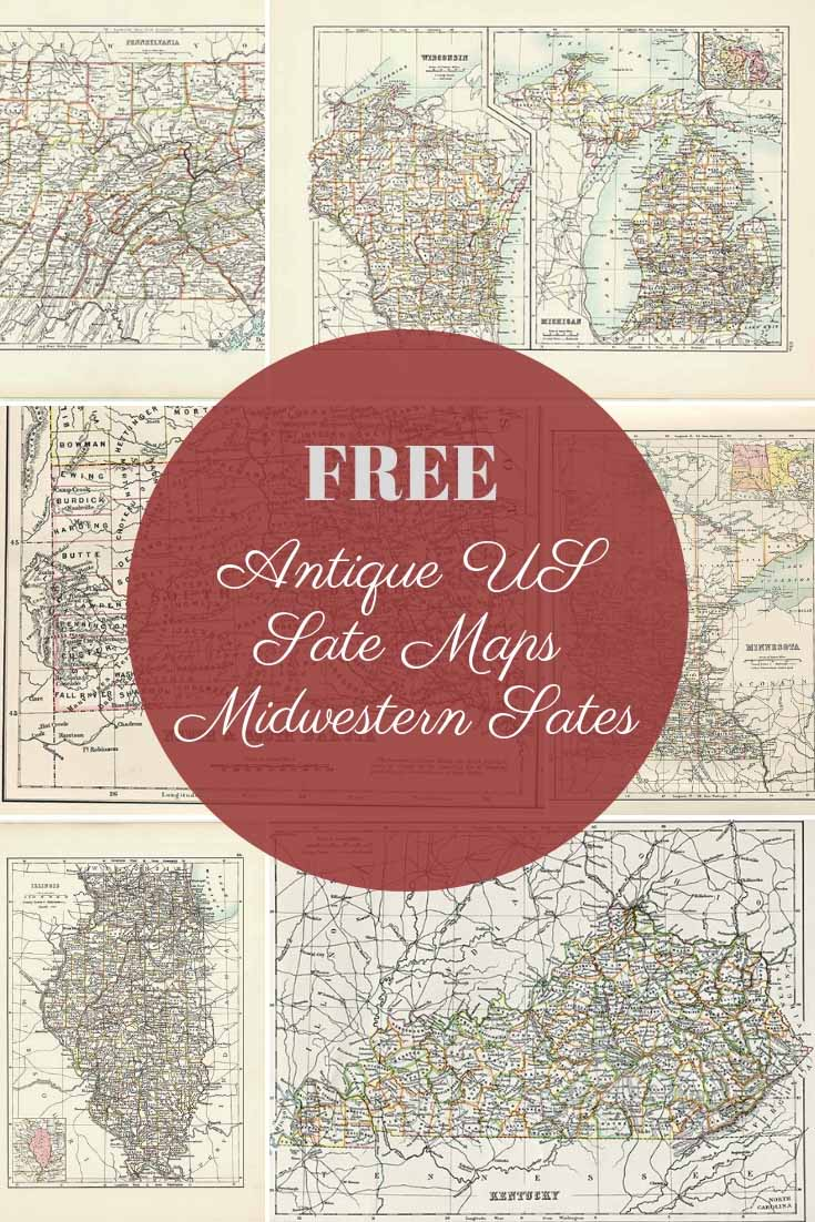 FREE antique US state maps (midwestern)