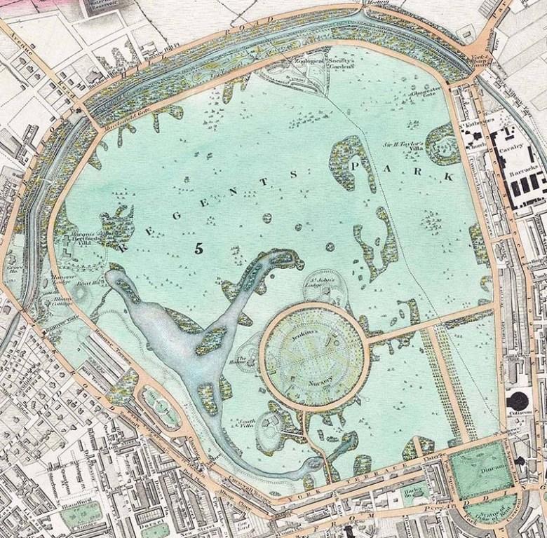 1830 Map of Regents Park London