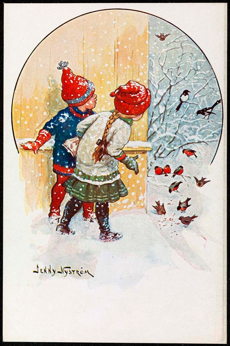 Scandinavian vintage Christmas card of children looking at robins