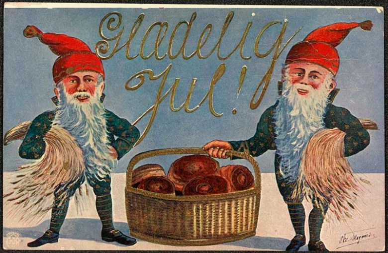 Free antique Christmas cards Scandinavian elves