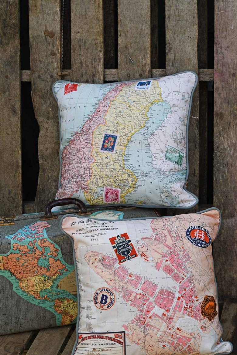 Norwegian double sided printed map pillows