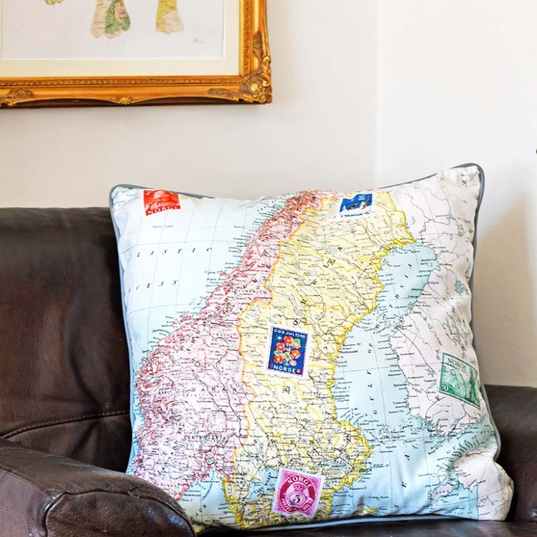 vintage map pillow