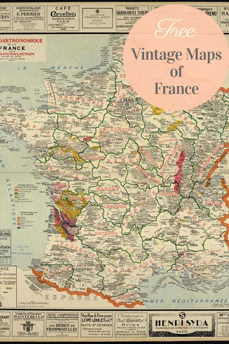 graphic about Printable Vintage Maps known as Totally free Amazing Basic Maps of France - Imagine Box Blue