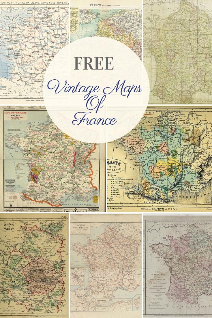 photo relating to Free Printable Vintage Maps identified as Absolutely free Breathtaking Typical Maps of France - Think about Box Blue
