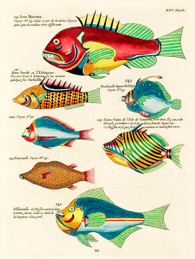 Fantrasical fish paintings of Louis Renard free to download