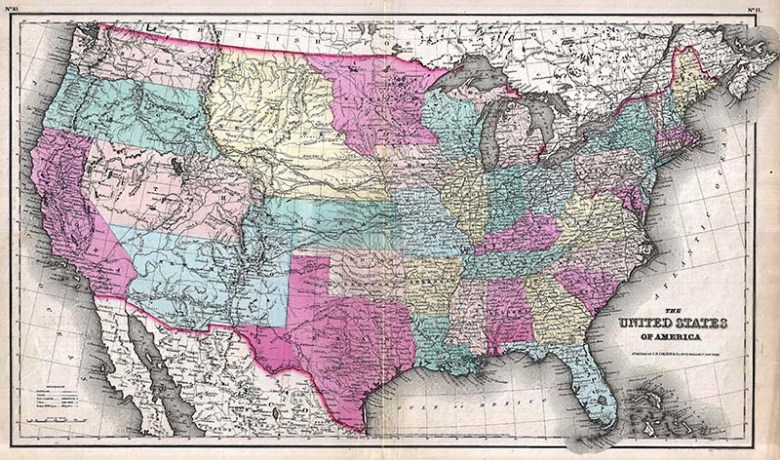 1857 Map of the USA free download