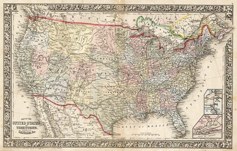 1864 Mitchell's vintage map of the United States of America