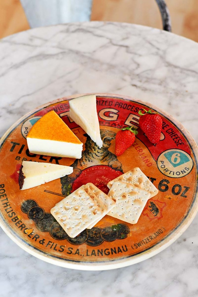 Vintage cheese label cheese board.