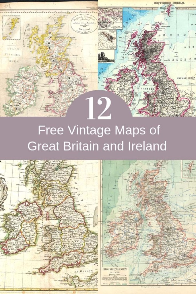 Vintage maps of the United Kingdom and Great Britain to download.