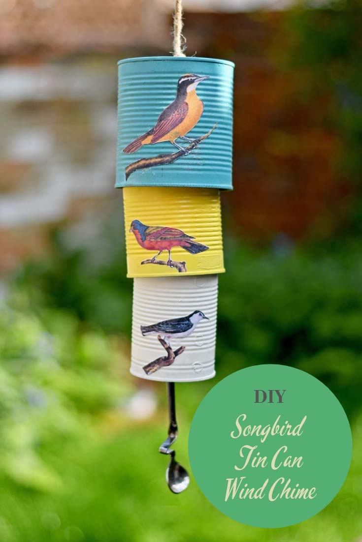 DIY decoupage tin can wind chime