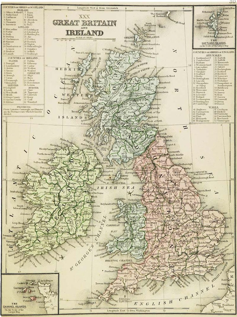 Map Great Britain and Ireland 1865