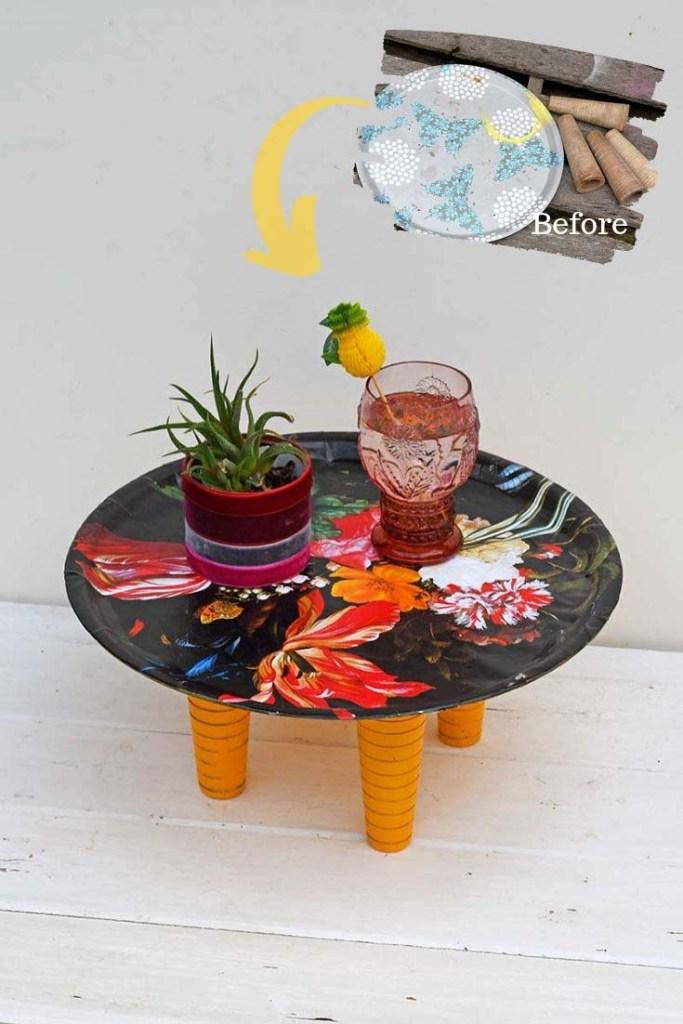 flowers decoupage tray table decoupage
