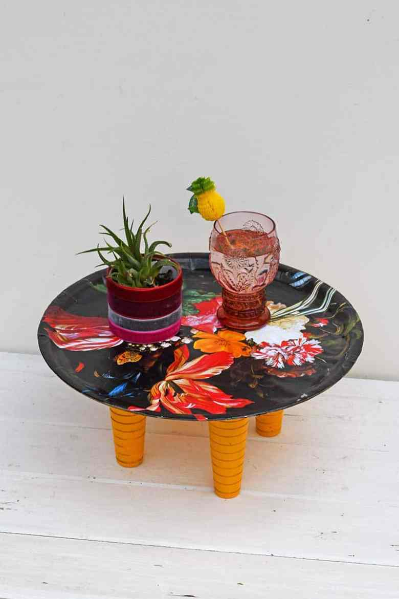 flowers decoupage tray table upcycle
