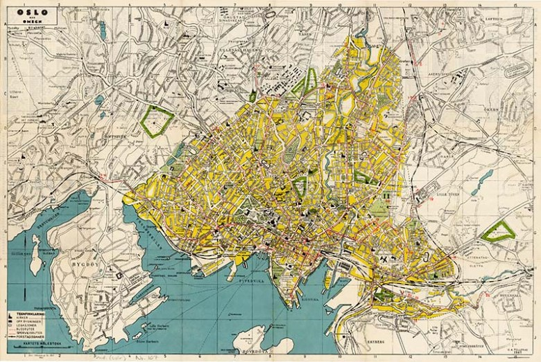 Vintage map of Oslo