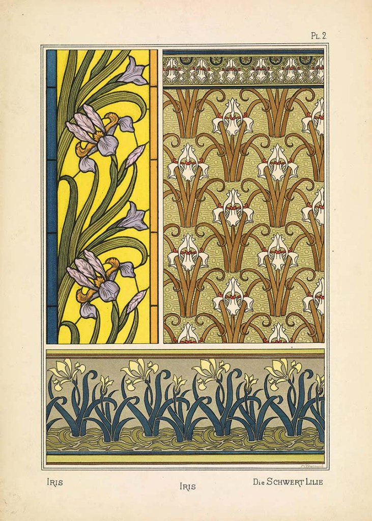 Art Nouveau Flower pattern Iris