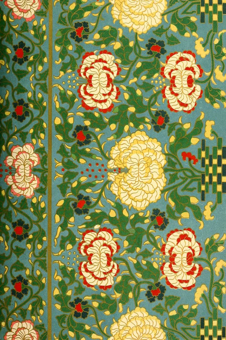 Chinese art pattern floral red and yellow on teal