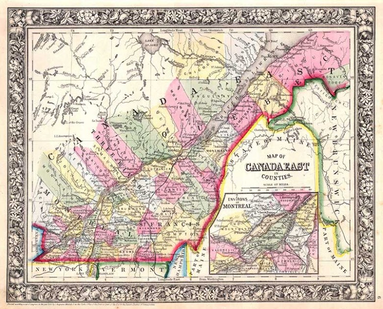 old map of Quebec Canada