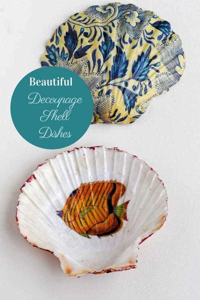Beautiful decoupage shell dish