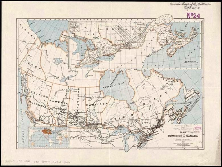 Old Map of Canada Railways