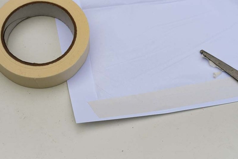 Taped tissue paper