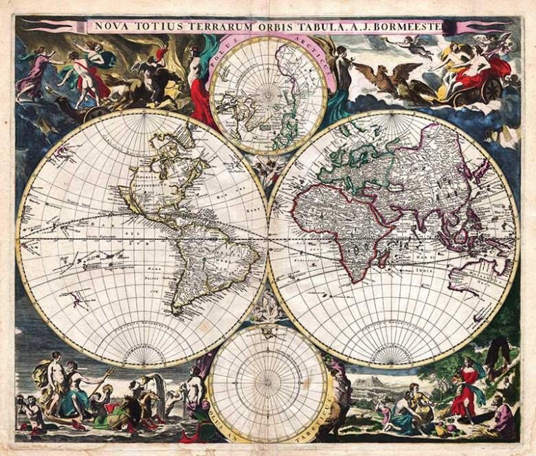rare 1685 world map with 4 hemispheres