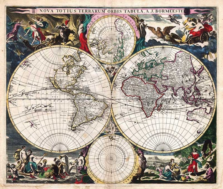 rare 1685 world map with 4 hemispheres