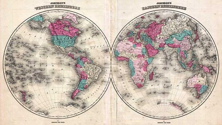 1866 Johnson Map of the World in Hemisphere Maps