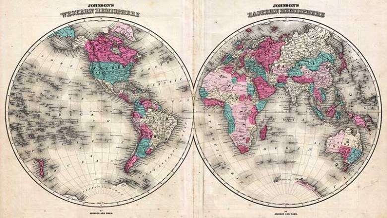 1866 Johnson Map of the World in Hemisphere Maps