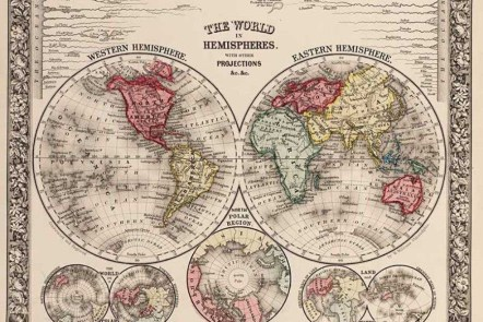 Hemisphere maps of the world
