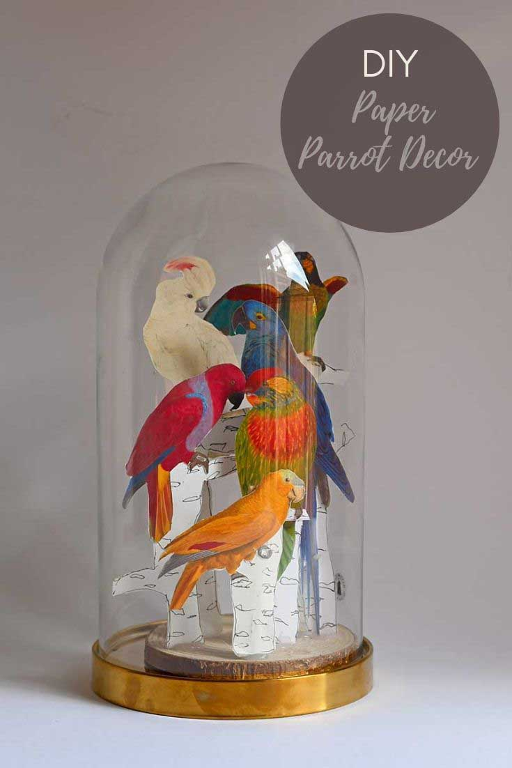How to make a fun tropical parrot decor for your mantle.  A free fun paper craft for a wonderful colorful display for a glass dome. #cloche #parrots #papercraft