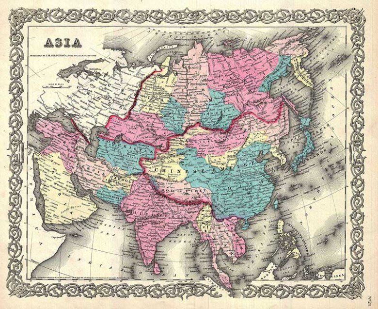 1855 Colton Map of Asia