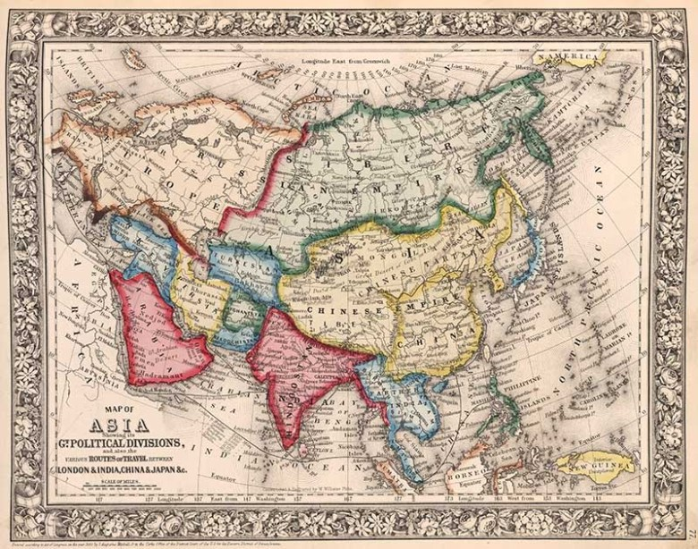 1860 old Map of Asia Mitchell