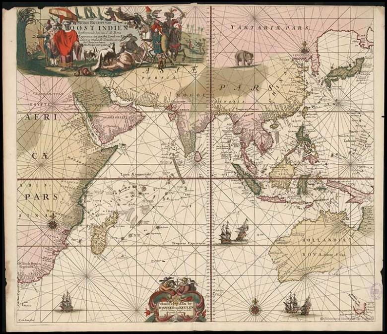 Van Keulen old map of Asia