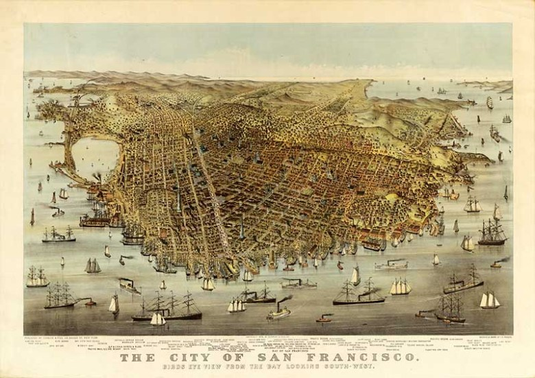 1878 Birds eye view maps of San Francisco Bay Are