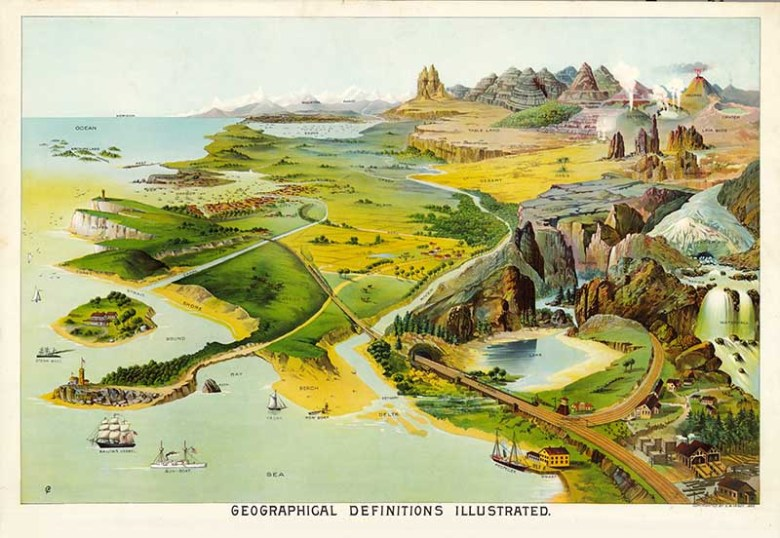 Yaggy's georgaphy posters geographical definitions illustrated