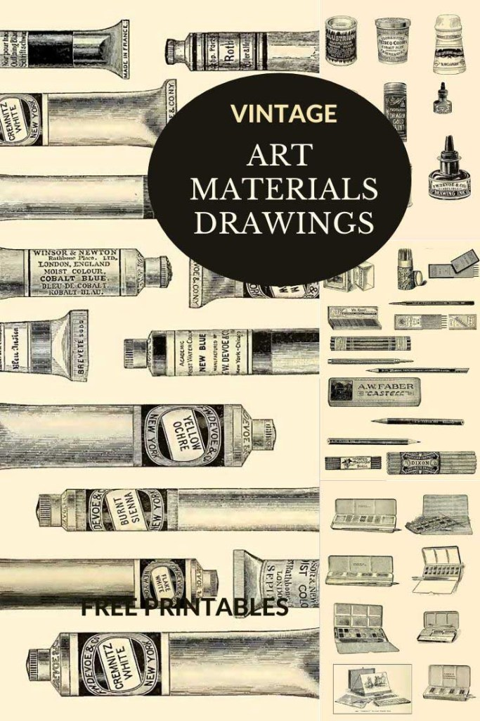 Vintage artists materials drawings