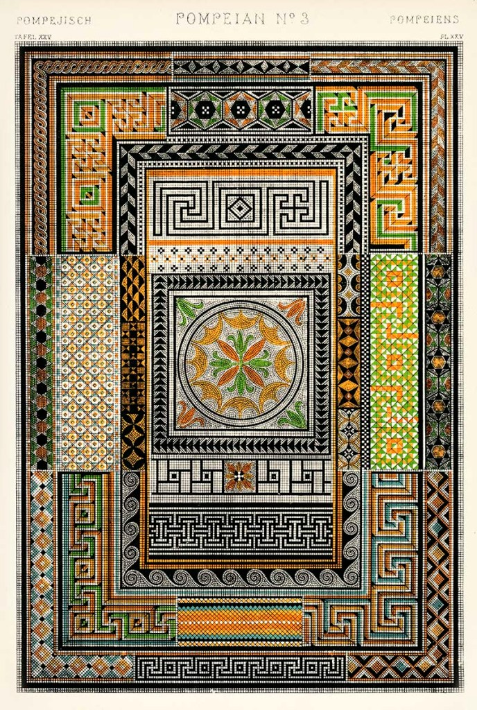 Pompeian mosaics from Owen Jones Grammar of Ornament