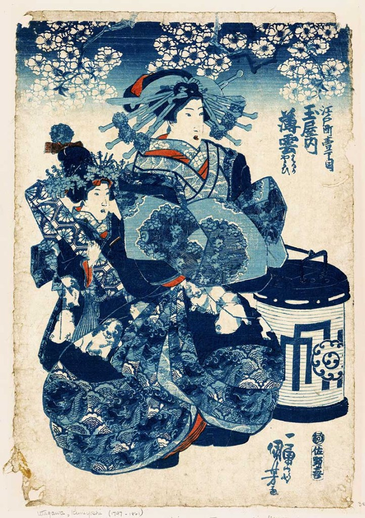 Blue Japanese woodcut print