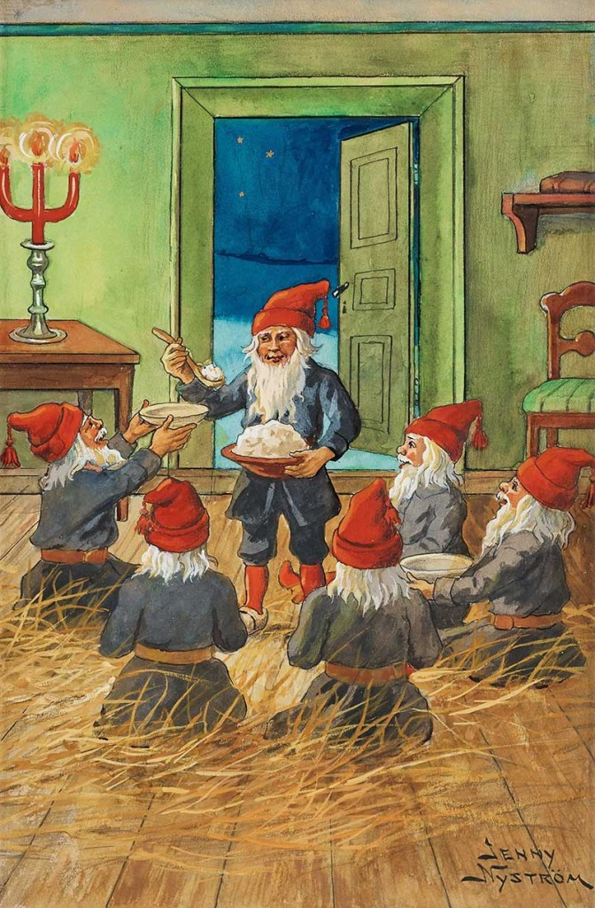 Gnomes eating porridge
